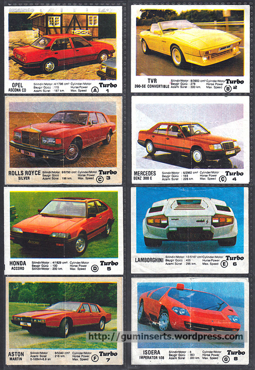 Turbo 1 50 My Bubble Gum Inserts Collection